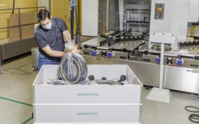 A Schaeffler és a Flender innovatív és környezetbarát csomagolási rendszert vezet be a nagy méretű csapágyakhoz